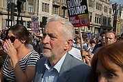 Labour leader Jeremy Corbyn joins protesters against the visit of US President Donald Trump to the UK, who marched through central London, on 13th July 2018, in London, England.