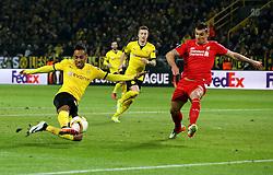 Pierre-Emerick Aubameyang of Borussia Dortmund shoots at goal - Mandatory by-line: Robbie Stephenson/JMP - 07/04/2016 - FOOTBALL - Signal Iduna Park - Dortmund,  - Borussia Dortmund v Liverpool - UEFA Europa League Quarter Finals First Leg
