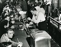 1944 Dick Haymes behind the counter at Schwab's Drugstore