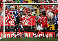 Photo: Lee Earle.<br /> Charlton Athletic v Sheffield Wednesday. Coca Cola Championship. 25/08/2007.Tommy Spurr (L) heads home Wednesday's second goal.