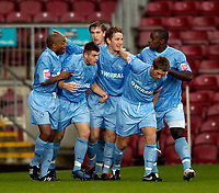 Photo: Jed Wee.<br />Bradford City v Tranmere Rovers. The FA Cup.<br />06/11/2005.<br /><br />Tranmere celebrate with goalscorer Chris Greenacre (C).