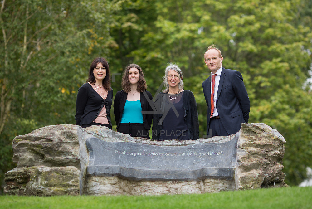 29.08. 2017.                                                   <br /> A new scholarship, the Roibeárd Thornton Memorial-Janssen Scholarship, was launched at the University of Limerick, named in memory of Dr Roibeárd Thornton, a graduate of the University. Dr Thornton, who had been working with Janssen Pharmaceuticals in Cork for over 4 years, had just returned to Limerick with his family when he was tragically killed in a car crash in January 2016.<br /> <br /> Pictured at the event were, Sarah Hartnett, UL Foundation, Scholarship recipient, Niamh Phelan, Dr. Jakki Cooney, Dept. Biological Sciences, UL and Dr. Patrick Sheehy, Janssen.<br /> <br /> A special seat using rock from the family land of Dr Roibeárd Thornton, was commissioned by his UL science family and brought to campus as a permanent reminder of his gentle soul. It is positioned close to Plassey House overlooking a grass valley with the River Shannon in view. Picture: Alan Place<br /> <br /> <br /> For more information, contact:<br /> Sarah Hartnett, University of Limerick Foundation Tel: 086-3872863; Email: sarah.hartnett@ul.ie