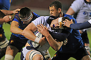 France's Florian Verghaeghe and Matthieu Voisin tackle  Scotland's Andrew Davidson during the U20 Six Nations match between Scotland U20's and France U20's at Broadwood Stadium, Cumbernauld, Scotland on March 11th  2016.   AFP PHOTO / NEIL HANNA