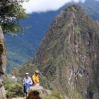 South America, Latin America, Peru, Urubamba. Trail from Intipunku (Sun Gate) to Machu Picchu.