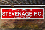 Ground shot of Stevenage FC signage during the EFL Sky Bet League 2 match between Stevenage and Bradford City at the Lamex Stadium, Stevenage, England on 5 April 2021.