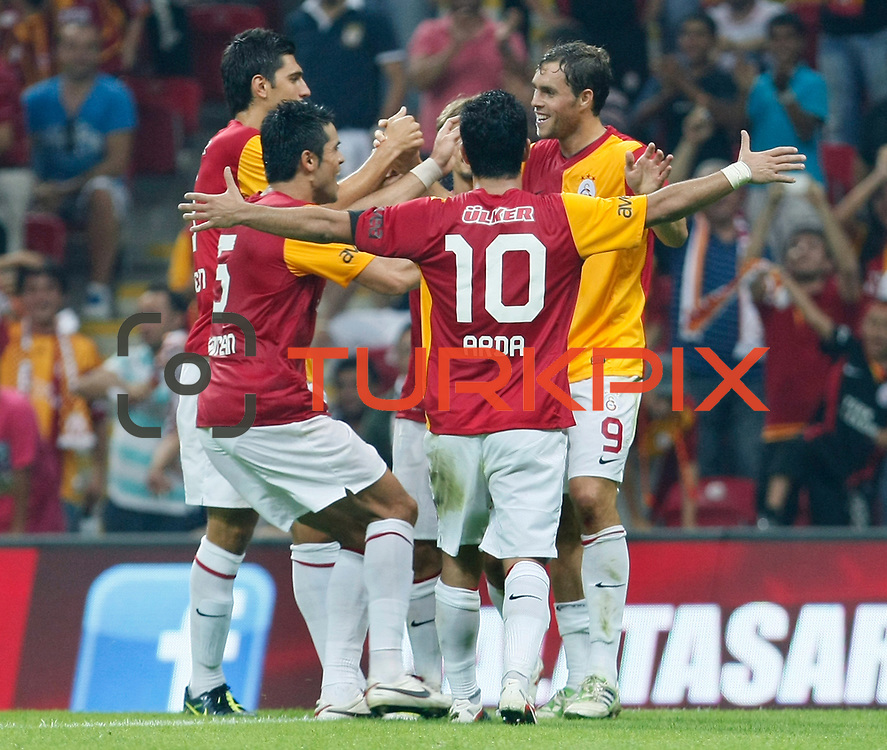 Galatasaray's Johan ELMANDER (R) celebrate his goal with team mate during their Friendly soccer match Galatasaray between Liverpool at the TT Arena at Arslantepe in Istanbul Turkey on Saturday 28 July 2011. Photo by TURKPIX
