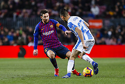 January 20, 2019 - Barcelona, Spain - Lionel Messi (10) of FC Barcelona and Oscar (27) of CD Leganes during the match FC Barcelona against CD Leganes, for the round 20 of the Liga Santander, played at Camp Nou  on 20th January 2019 in Barcelona, Spain. (Credit: Mikel Trigueros/Urbanandsport / NurPhoto) (Credit Image: © Mikel Trigueros/NurPhoto via ZUMA Press)