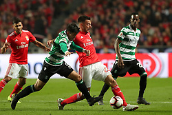 February 6, 2019 - Lisbon, Portugal - Benfica's midfielder Andreas Samaris (C ) vies with Sporting's forward Marcos Acuna from Argentina (L) during the Portugal Cup Semifinal first leg football match SL Benfica vs Sporting CP at Luz stadium in Lisbon, on February 6, 2019. (Credit Image: © Pedro Fiuza/ZUMA Wire)