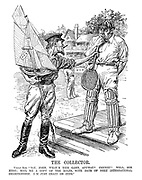 """The Collector. Uncle Sam. """" Say, John, what's this game, anyway? Cricket? Well, see here; mail me a copy of the rules, with date of next international championship. I'm just crazy on cups."""""""