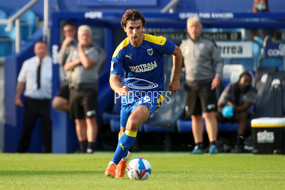 AFC Wimbledon attacker Zach Robinson (29) dribbling during the EFL Trophy Group O match between AFC Wimbledon and Charlton Athletic at the Kiyan Prince Foundation Stadium, London, England on 1 September 2020.