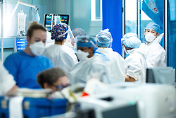 © Licensed to London News Pictures. 05/02/2021. Oldham , UK . Inside Royal Oldham Hospital's Covid ITU where patients, most of them unconscious , are treated for the effects of Coronavirus . Photo credit : Joel Goodman/LNP