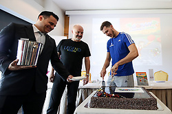 Primoz Suhodolcan and Goran Dragic at presentation of Goran Dragic and Primoz Suhodolcan book Goran, legenda of zmaju, on August 23 2017 in Radisson Blu Plaza, Ljubljana, Slovenia. Photo by Matic Klansek Velej / Sportida