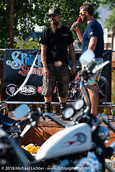 Pat Patterson on stage at his Sportster Showdown Bike Show presented by Led Sled and Biltwell at the Buffalo Chip during the 78th annual Sturgis Motorcycle Rally. Sturgis, SD. USA. Tuesday August 7, 2018. Photography ©2018 Michael Lichter.