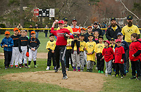Sam Knowlton the 2017 Mr. Laconia Little League recipient was given the honor of throwing out the first pitch to begin the 2018 season during opening day festivities on Colby Field Saturday morning.  (Karen Bobotas/for the Laconia Daily Sun)