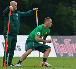 20.07.2011, Oeschberghof, Donaueschingen, Trainingslager 2011 GER, 1.FBL, Werder Bremen Trainingslager Donaueschingen 2011, im Bild Thomas Schaaf (Trainer Werder Bremen) und Marko Arnautovic (Bremen #7) kurz nach der Behandlung durch den Doc - alles geht wieder..// during the trainings session from GER, 1.FBL, Werder Bremen Trainingslager Donaueschingen 2011 on 2011/07/20,  Oeschberghof, Donaueschingen, Germany..EXPA Pictures © 2011, PhotoCredit: EXPA/ nph/  Kokenge       ****** out of GER / CRO  / BEL ******