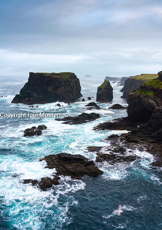 Dramatic cliffs and Moo Stack prominent  on coast at Eshaness at Northmavine , north mainland of Shetland Islands, Scotland, UK