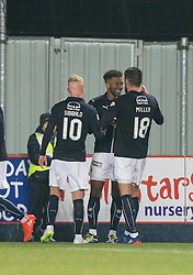 Falkirk's Myles Hippolyte cele scoring their third goal. Falkirk 3 v 1 St Mirren, Scottish Championship game played 3/12/2016 at The Falkirk Stadium .