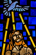Stained glass depicting Jesus Christ at His baptism (Mark 1:9), seen on Saturday, April 17, 2021, at Iglesia Luterana Cristo El Salvador, Del Rio, Texas. LCMS Communications/Erik M. Lunsford