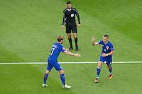 GOAL CELEBRATION - Croatia's Ivan Perisic (right) celebrates scoring the opening goal with Ivan Rakitic<br /> <br /> Photographer Craig Mercer/CameraSport<br /> <br /> International Football - 2016 UEFA European Championship - Group D, Czech Republic v Croatia - Stade Geoffroy Guichard, St Etienne - France <br /> <br /> World Copyright © 2016 CameraSport. All rights reserved. 43 Linden Ave. Countesthorpe. Leicester. England. LE8 5PG - Tel: +44 (0) 116 277 4147 - admin@camerasport.com - www.camerasport.com