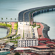 The northen end of the controversial Coastal Beltway that runs around Casco Viejo, as seen from the top of Ancon Hill. Ancon Hill is only 654-feet high but commands an impressive view out over the new and old sections of Panama City. With views out over both the Pacific Ocean and the entrance to the Panama Canal, the area was historically where the administration of the Panama Canal was centered and now has a mix of high-end residences and government departments.
