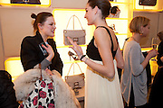 CHLOE KERMAN; NINE D'URSO; DAUGHTER OF INES DE LA FRESSANGE;  , Cocktail party to launch the Miss Viv bag. ( Smash-and-grab raiders seized more than a dozen  of the handbags but they were recovered after the raiders crashed their motorbike and the bags spilled out onto the street. )<br /> Roger Vivier, 188 Sloane Street, London SW1,