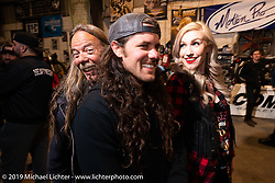 Doug Wothke, Brad Gregory and a friend at Bill Dodge's Blings Cycles industry party during Daytona Bike Week. Daytona Beach, FL. USA. Wednesday March 14, 2018. Photography ©2018 Michael Lichter.