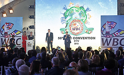 October 1, 2018 - Kiev, Ukraine - President of the World Boxing Council (WBC) MAURICIO SULAIMAN (R) and former heavyweight boxing champion and current Mayor of Kiev VITALI KLITSCHKO (L) speak during the opening of the 56th World Boxing Convention in Kiev, Ukraine, on 1 October 2018. The WBC 56th congress in which take part boxing legends Evander Holyfield,Lennox Lewis, Eric Morales and about 700 participants from 160 countries runs in Kiev from from September 30 to October 5. (Credit Image: © Serg Glovny/ZUMA Wire)