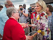 28 JUNE 2019 - DES MOINES, IOWA: Dr. JILL BIDEN, right, greets voters at the State Historical Museum of Iowa. Dr. Biden was in Des Moines Friday to campaign for her husband, former Vice President Joe Biden. Vice President Biden, who was Vice President for 8 years during the Obama administration, is one of the Democratic front runners for the Presidency. Iowa traditionally hosts the the first selection event of the presidential election cycle. The Iowa Caucuses will be on Feb. 3, 2020.             PHOTO BY JACK KURTZ