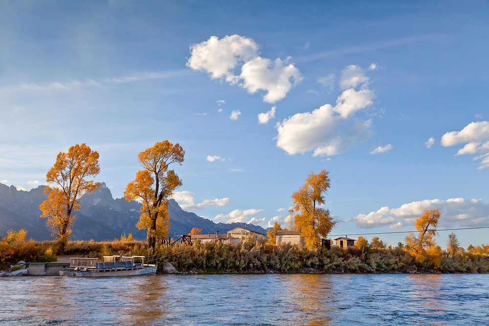 Menors Ferry at Moose and Trading Post Buildings for early trappers and settlers to get essential supplies in the last 1800's.  Grand Teton National Park.  Licensing and Open Edition Prints.