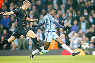 Manchester City's Kelechi Iheanacho (72) fires past the Celtic keeper to score and make it 1-1 during the Champions League match between Manchester City and Celtic at the Etihad Stadium, Manchester, England on 6 December 2016. Photo by Craig Galloway.