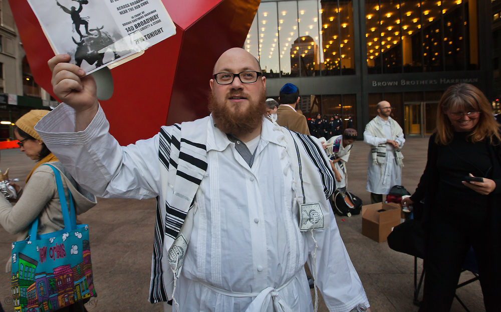 The Occupy Wall Street movement protesting against corporate greed started on Sept. 17, 2011 and has spread to cities across America. ///Jewish American activist Daniel Sieradski holds a Yom Kippur service held across from Zuccotti Park in support of the Occupy Wall Street protest movement in New York City on Friday October 7, 2011.