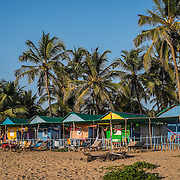 Most of the hotels or guest houses on Agonda beach are lsimple huts with little more than a mosquito net, a fan, and a porch with a view of the beach. Every year after the monsoon season the huts are put in place, where they sit for six months like little cottages  lining the unspoiled beach.