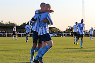 Sam Blundell celebrates after his goal to put Worthing United 2-1 up during the FA Vase 1st Qualifying Round match between Worthing United and East Preston FC at the Robert Eaton Memorial Ground, Worthing, United Kingdom on 6 September 2015. Photo by Phil Duncan.