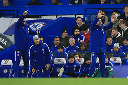 29 November 2017 -  Premier League - Chelsea v Swansea City - Members of the Chelsea staff pass on instructions to the players in the absence of Manager Antonio Conte - Photo: Marc Atkins/Offside
