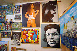 Inside view of a shop selling posters and paintings in Havana, Cuba, on August 8, 2006, one week after an ailing Fidel Castro handed his brother Raul provisional control over the government which he has led uninterrupted for 47 years. Cuban citizens are waiting to find out if the 'Lider Maximo' will resume leadership after his recovery from an intestinal surgery. Photo by ABACAPRESS.COM   103285_05