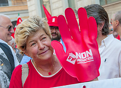 June 17, 2017 - Rome, Italy - A national demonstration convened by CGIL (the largest Italian trade union) for respect for labor rights, democracy and the Constitution. In the square, behind the opening banner of the procession, CGIL's secretary-general, Susanna Camuss (Credit Image: © Patrizia Cortellessa/Pacific Press via ZUMA Wire)