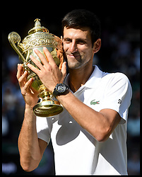 July 15, 2018 - London, London, United Kingdom - Wimbledon Tennis Championships-Day Thirteen. Novak Djokovic wins fourth Wimbledon by beating Kevin Anderson in  the Men's Final on Centre court on Day Thirteen of the Wimbledon Tennis Championships. (Credit Image: © Andrew Parsons/i-Images via ZUMA Press)