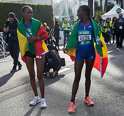 March 18, 2018 - Santa Monica, California, U.S - (R) Winner, Sule Gedo #56 of Ethiopia and 2nd finisher, Tsehay Desalegn #54 of Ethiopia complete the Skechers Performance Los Angeles Marathon on Sunday March 18, 2018 in Santa Monica, California. (Credit Image: © Prensa Internacional via ZUMA Wire)