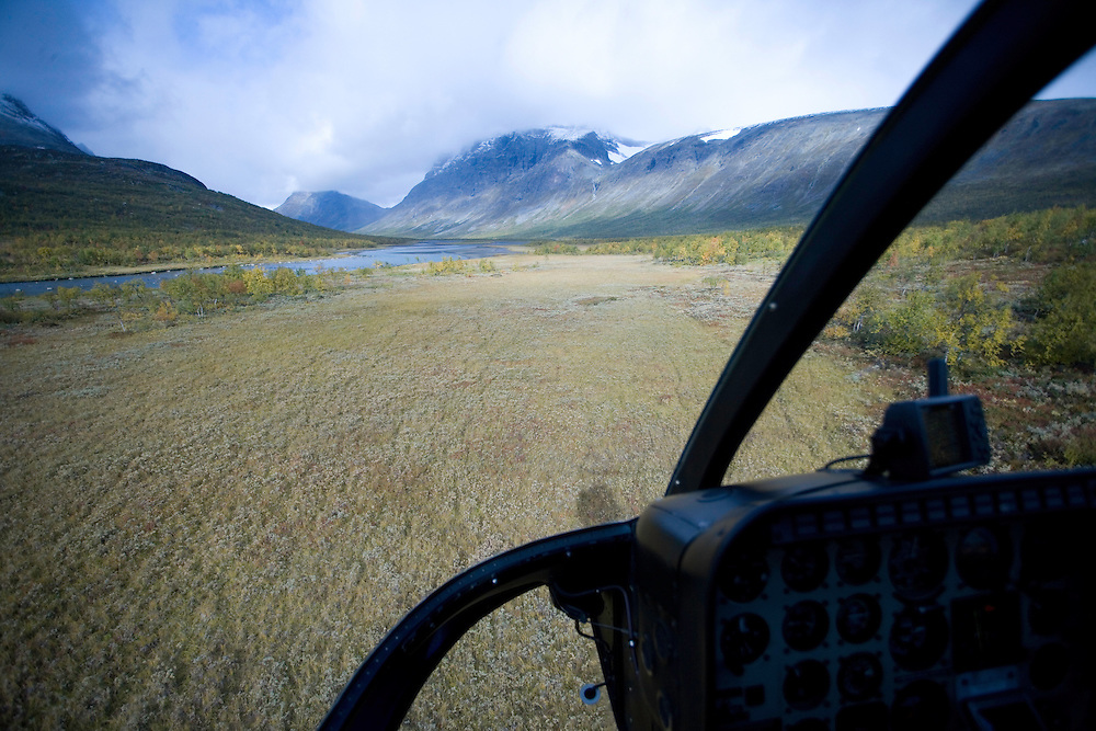 View from helicopter over Rapadalen, Sarek National Park, Laponia World Heritage Site, Sweden