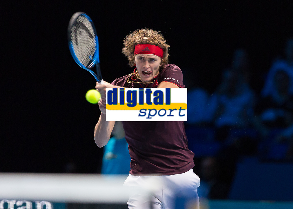 Tennis - 2017 Nitto ATP Finals at The O2 - Day Five<br /> <br /> Group Boris Becker Singles: Alexander Zverev (Germany) Vs Jack Sock (United States)<br /> <br /> Alexander Zverev (Germany) drives home the with a backhand return of serve at the O2 Arena<br /> <br /> COLORSPORT/DANIEL BEARHAM