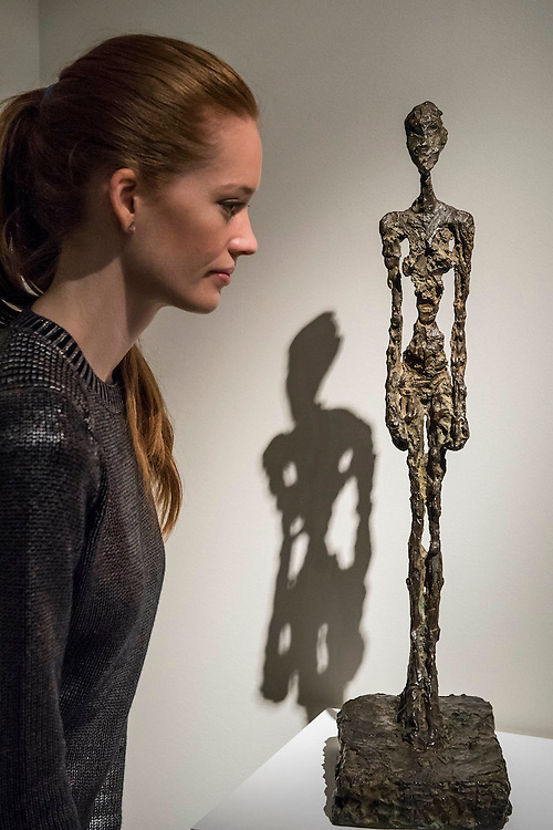 ALBERTO GIACOMETTI (1901-1966)<br /> Femme debout<br /> Conceived in 1956-1957 and cast by 1958<br /> Estimate: $4,000,000-6,000,000 - Christie's showcases  the London Post-War and Contemporary Art Evening Sale in October, alongside an exceptional selection of works from the  New York sales in November of Impressionist, Modern, Post-War And  Contemporary Art. The works will be on view to the public from Saturday 10 October to Saturday 17 October at Christie's King Street. The highlight is  Amedeo Modigliani's, 'Nu couché (Reclining  Nude)', painted in 1917-18, which has an estimate in the region of $100 million.