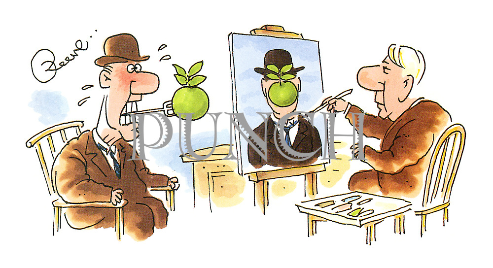 (A man posing for Rene Magritte's picture The Son of Man holds an apple on a fork between his teeth)