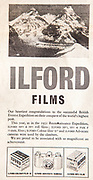 Mount Everest 1953 British first ascent advert - Ilford films