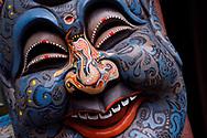 Masks, Xuan Kong Si, or Hanging Temple, 1800 years old, Beiyue Hengshan Mountain, Datong, Hunyuan County, Shanxi Province, China