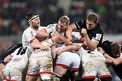 Iain Henderson and Kieran Treadwell of Ulster Rugby and Tom Ellis of Bath Rugby in action at a maul - Mandatory byline: Patrick Khachfe/JMP - 07966 386802 - 18/01/2020 - RUGBY UNION - Kingspan Stadium - Belfast, Northern Ireland - Ulster Rugby v Bath Rugby - Heineken Champions Cup