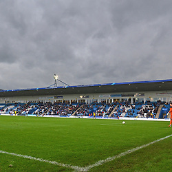TELFORD COPYRIGHT MIKE SHERIDAN 13/10/2018 - A general view of the main stand (west stand) at AFC Telford United's New Bucks Head Stadium during Storm Callum, during the Vanarama National League North fixture between AFC Telford United and Chorley