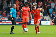Luton Town midfielder Mpanzu Pelly-Ruddock (17) and Luton Town attacker James Collins (19) during the EFL Sky Bet League 1 match between Luton Town and Bristol Rovers at Kenilworth Road, Luton, England on 15 September 2018.