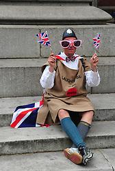 Trafalgar Square London , UK  29/04/2011. The Royal Wedding of HRH Prince William to Kate Middleton. 8am crowds await the big moment . Photo credit should read ALAN ROXBOROUGH/LNP.