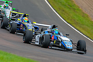 Sebastian Alvarez (MEX) of Double R Racing exits Butchers during Round 23 of the FIA Formula 4 British Championship at Knockhill Racing Circuit, Dunfermline, Scotland on 15 September 2019.