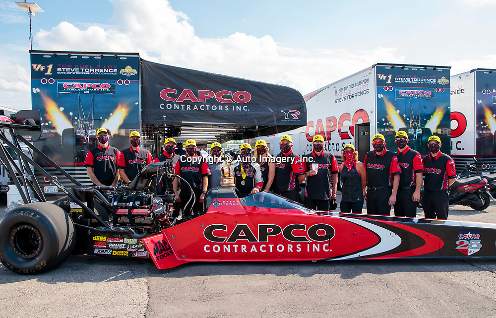 Aug 9, 2020; Clermont, Indiana, USA; NHRA top fuel driver Steve Torrence celebrates with crew after winning the Indy Nationals at Lucas Oil Raceway. Mandatory Credit: Mark J. Rebilas-USA TODAY SportsDodge NHRA Indy Nationals presented by Pennzoil
